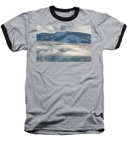 Baseball T-Shirt featuring the photograph Steamboat Ski Area In Clouds by Don Schwartz