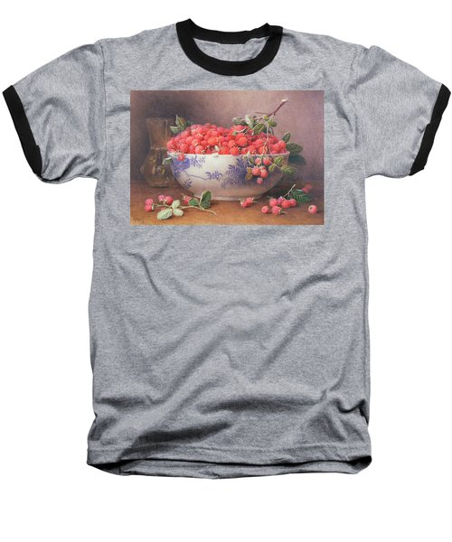 Still Life Of Raspberries In A Blue And White Bowl Baseball T-Shirt