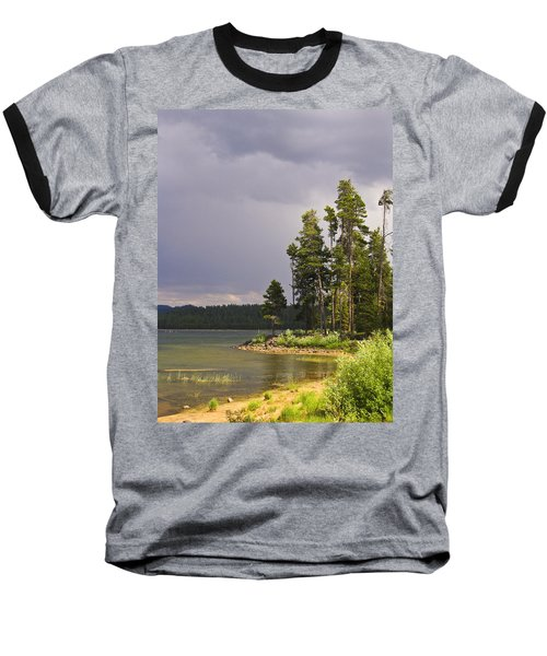 Storm Clouds Over A Lake Baseball T-Shirt by Anne Mott