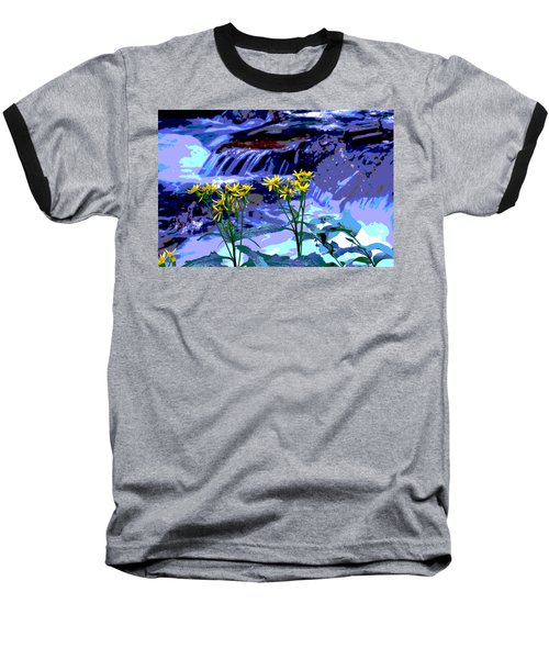 Stream And Flowers Baseball T-Shirt by Zawhaus Photography
