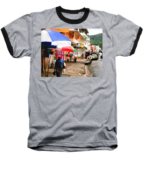 Street Scene In Rosea Dominica Filtered Baseball T-Shirt