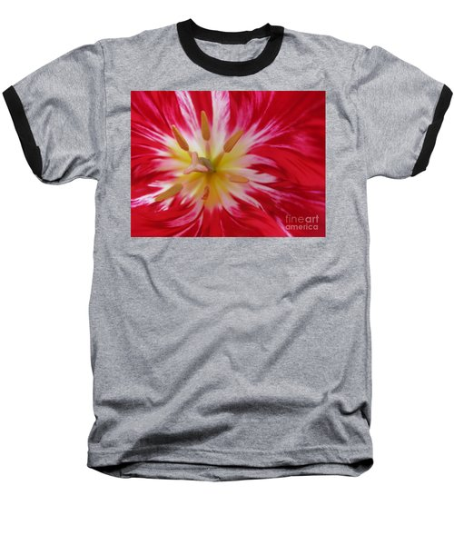 Striped Flaming Tulips. Hot Pink Rio Carnival Baseball T-Shirt