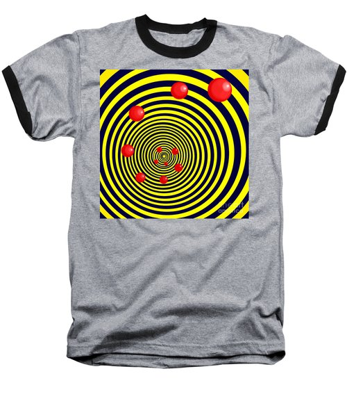 Summer Red Balls With Yellow Spiral Baseball T-Shirt