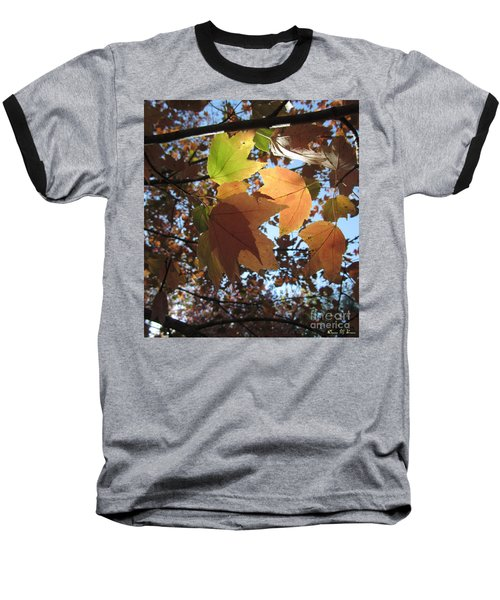 Baseball T-Shirt featuring the photograph Sun-lite Fall Leaves by Donna Brown