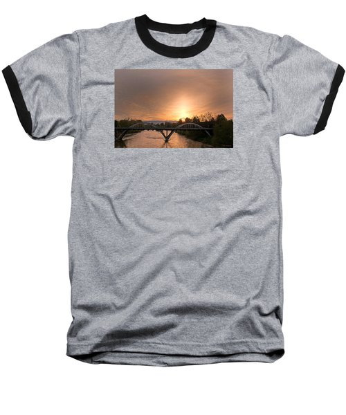 Sunburst Sunset Over Caveman Bridge Baseball T-Shirt by Mick Anderson