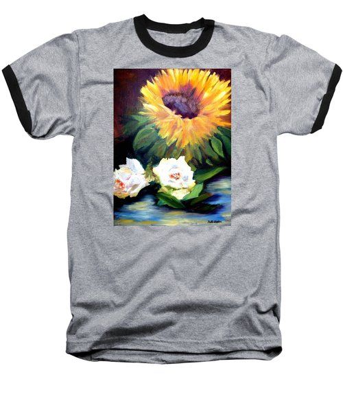Sunflower And White Roses Baseball T-Shirt