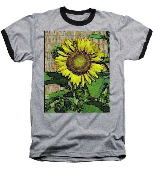 Sunflower Face Baseball T-Shirt by Alec Drake