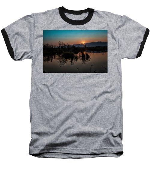 Sunrise Over The Beaver Pond Baseball T-Shirt by Ronald Lutz