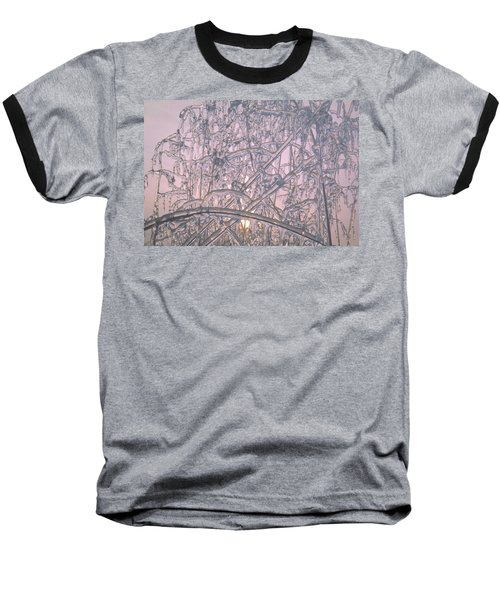 Sunrise Through Ice Covered Shrub Baseball T-Shirt by Tom Wurl