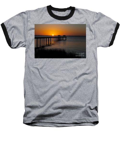 Sunset Across Currituck Sound Baseball T-Shirt by Ronald Lutz