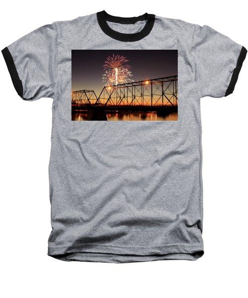 Sunset And Fireworks Baseball T-Shirt