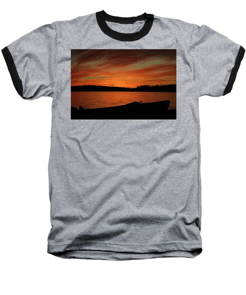 Sunset And Kayak Baseball T-Shirt