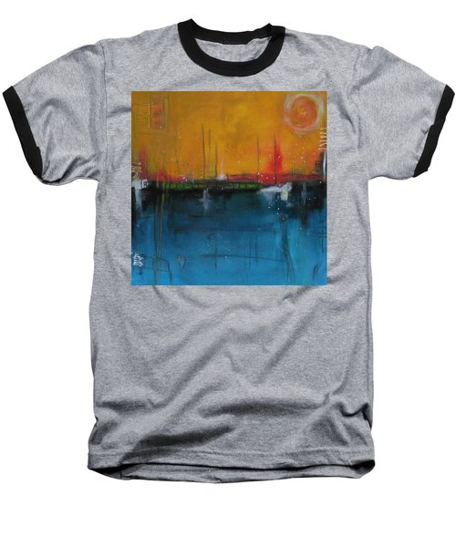 Baseball T-Shirt featuring the painting Sunset At The Lake  # 1 by Nicole Nadeau