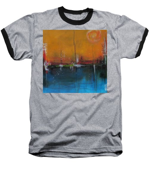 Baseball T-Shirt featuring the painting Sunset At The Lake # 2 by Nicole Nadeau