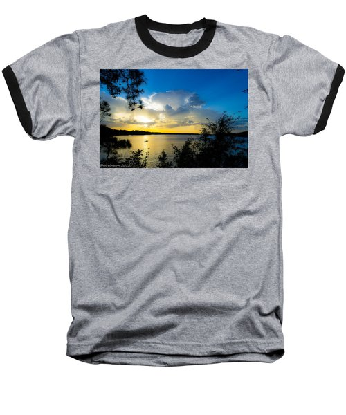 Sunset Fishing Baseball T-Shirt by Shannon Harrington