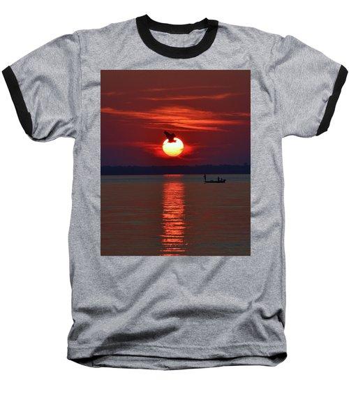 Sunset Fishing Baseball T-Shirt
