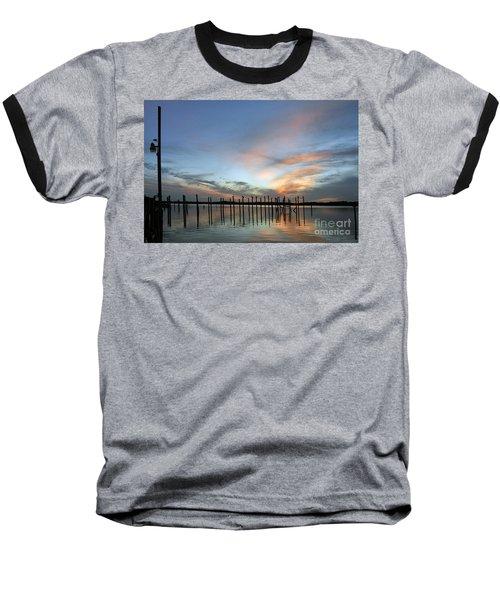 Baseball T-Shirt featuring the photograph sunset marina Everglades by Dan Friend