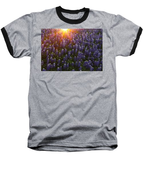 Sunset Over Bluebonnets Baseball T-Shirt
