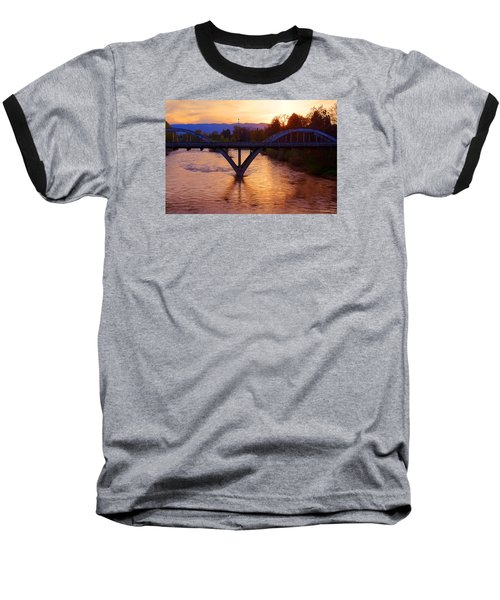 Sunset Over Caveman Bridge Baseball T-Shirt by Mick Anderson