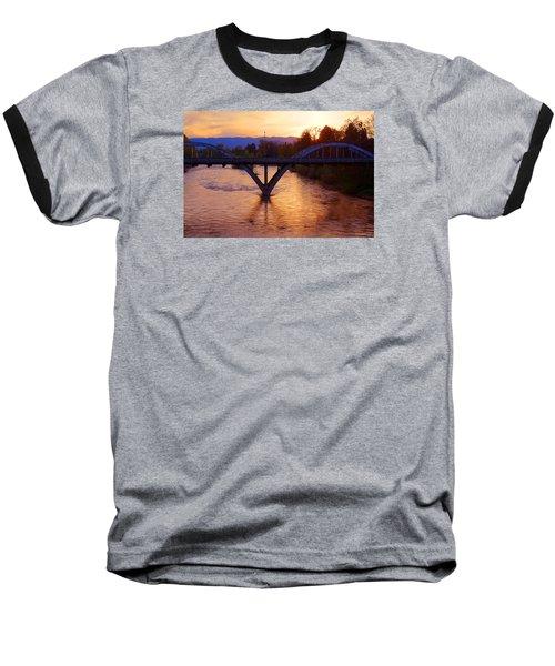 Sunset Over Caveman Bridge Baseball T-Shirt