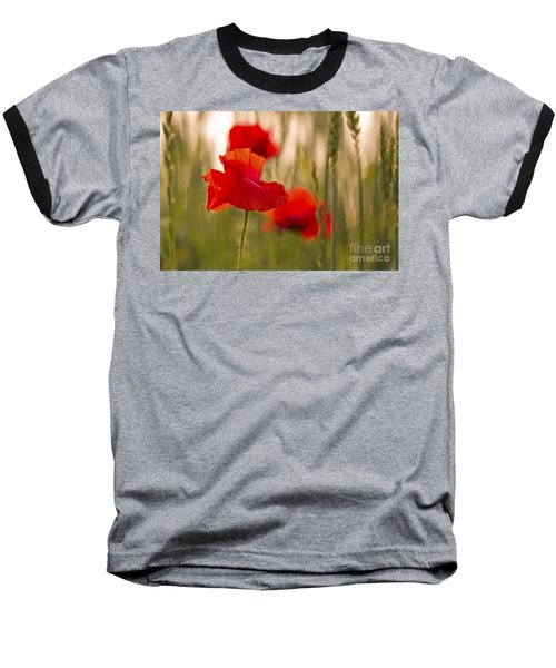 Baseball T-Shirt featuring the photograph Sunset Poppies. by Clare Bambers