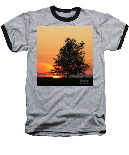 Sunset Square Baseball T-Shirt by Angela Rath