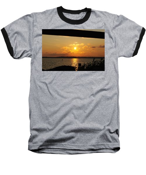 Baseball T-Shirt featuring the photograph Sunset Through The Rails by Michael Frank Jr