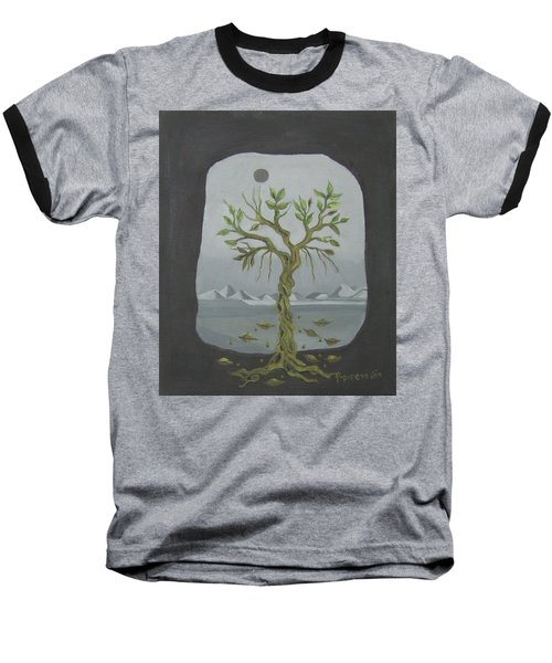Surreal Landscape Framed  With Tree Falling Leaves Moon Mountain Sky   Baseball T-Shirt by Rachel Hershkovitz