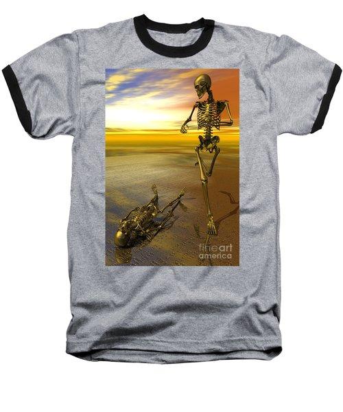 Surreal Skeleton Jogging Past Prone Skeleton With Sunset Baseball T-Shirt