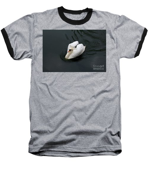 Baseball T-Shirt featuring the photograph Swan On Black Water by Les Palenik