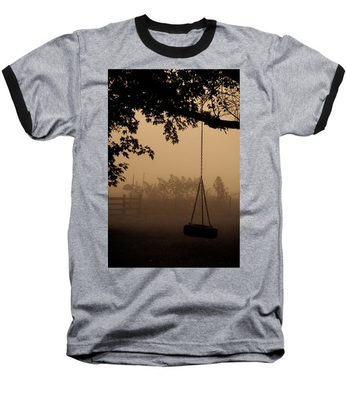 Baseball T-Shirt featuring the photograph Swing In The Fog by Cheryl Baxter