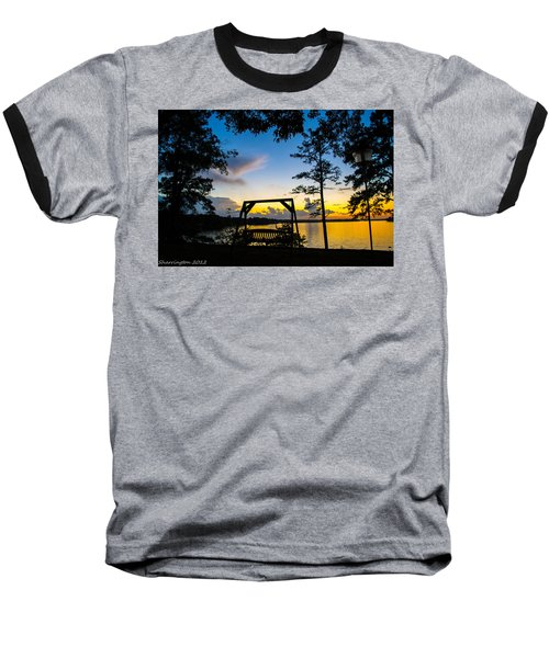 Swing Silhouette  Baseball T-Shirt by Shannon Harrington