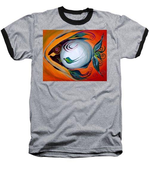 Teal Fish With Orange Baseball T-Shirt