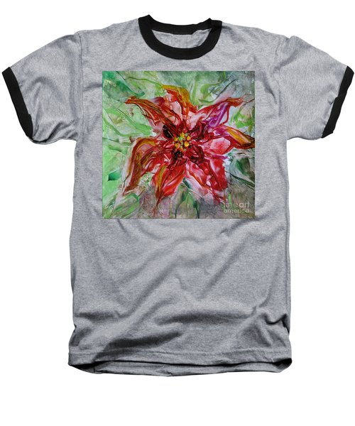 Baseball T-Shirt featuring the painting The Christmas Poinsettia by Dragica  Micki Fortuna