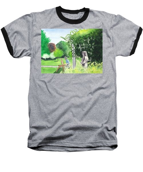 Baseball T-Shirt featuring the painting the garden at the wellers carriage house in Saline  Michigan 1 by Yoshiko Mishina
