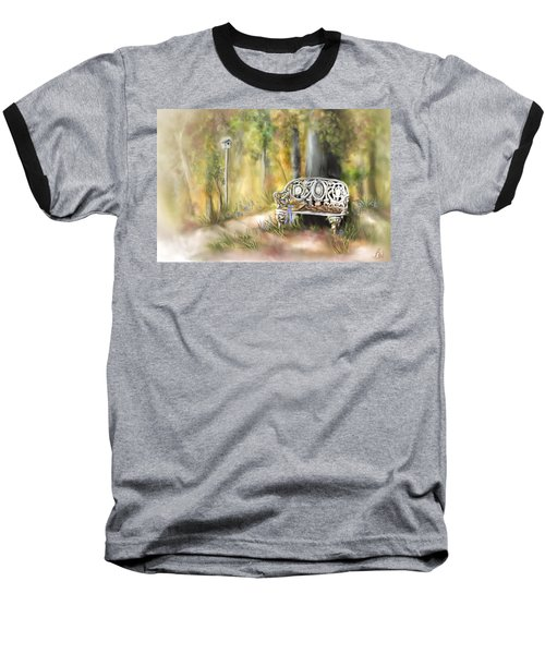 Baseball T-Shirt featuring the painting The Garden Bench by Bonnie Willis