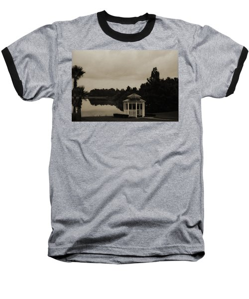 Baseball T-Shirt featuring the photograph The Gazebo At The Lake by DigiArt Diaries by Vicky B Fuller