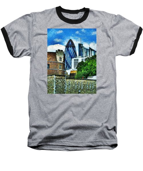The London Gherkin  Baseball T-Shirt by Steve Taylor