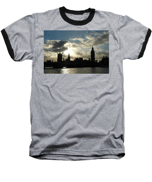 The Outline Of Big Ben And Westminster And Other Buildings At Sunset Baseball T-Shirt