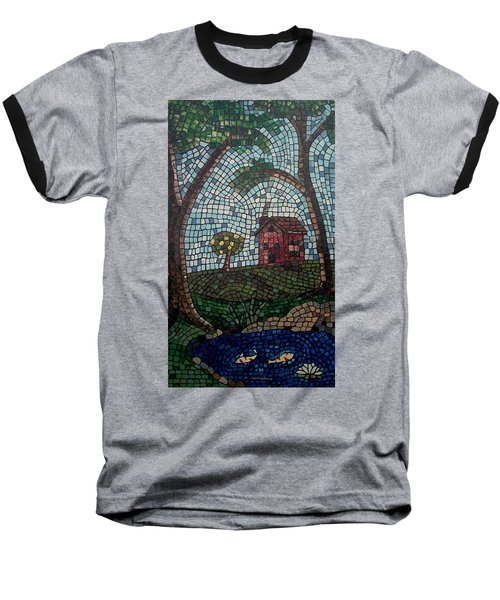 Baseball T-Shirt featuring the painting The Pond by Cynthia Amaral