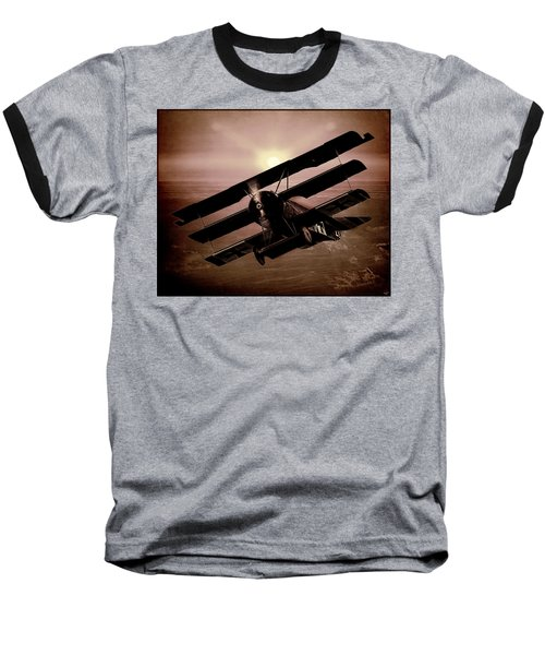 Baseball T-Shirt featuring the photograph The Red Baron's Fokker At Sunset by Chris Lord