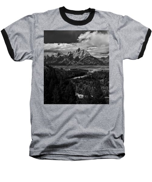 The Tetons - Il Bw Baseball T-Shirt by Larry Carr