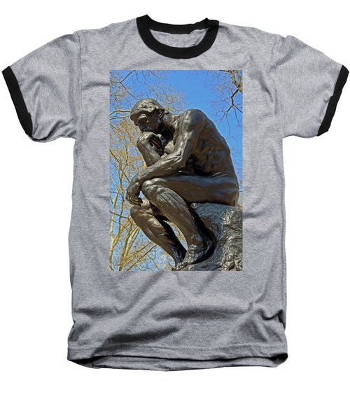 The Thinker By Rodin Baseball T-Shirt by Lisa Phillips
