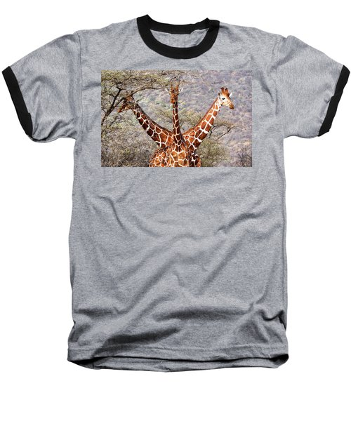 Three Headed Giraffe Baseball T-Shirt