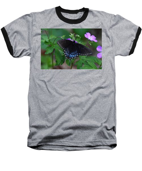 Tiger Swallowtail Female Dark Form On Wild Geranium Baseball T-Shirt