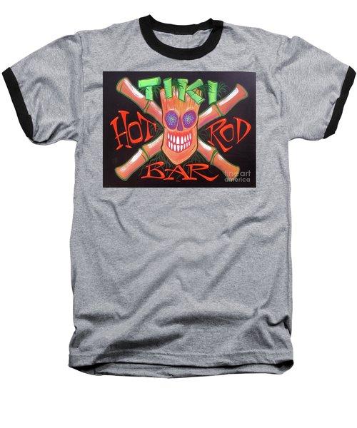 Tiki Hot Rod Bar Baseball T-Shirt