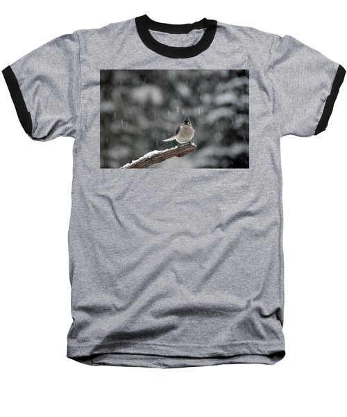 Baseball T-Shirt featuring the photograph Titmouse Endures Snowstorm by Mike Martin