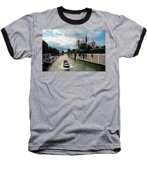 Baseball T-Shirt featuring the photograph Tour Boat Passing Notre Dame by Dave Mills