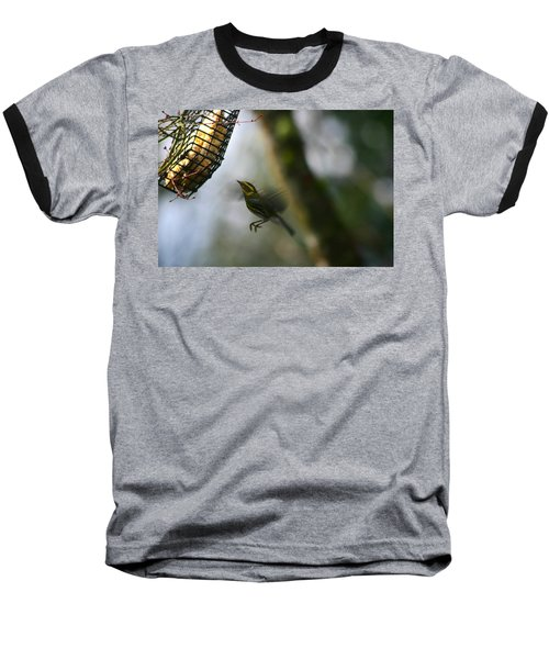 Baseball T-Shirt featuring the photograph Townsend Warbler In Flight by Kym Backland