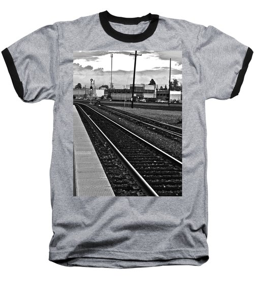 Baseball T-Shirt featuring the photograph train tracks - Black and White by Bill Owen